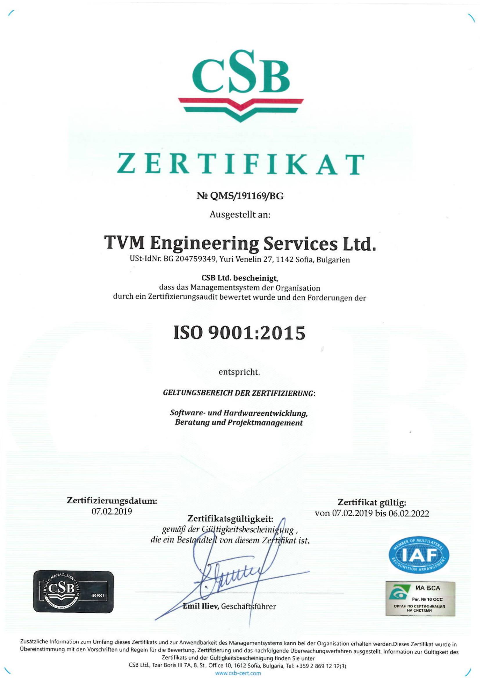 TVM Engineering Zertifikat ISO 27001:2017